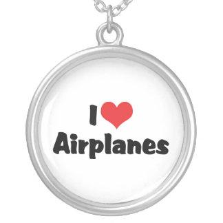 私はハートの飛行機を愛します シルバープレートネックレス