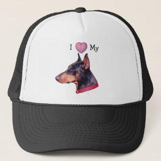 私はハートを私の(犬)ドーベルマン・ピンシェルの帽子愛します キャップ