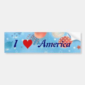 私はハートアメリカの気球のバンパーステッカーを愛します バンパーステッカー