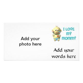 私はハート及びラッセル音のベビーを跳ねている私のお母さんを愛します カード