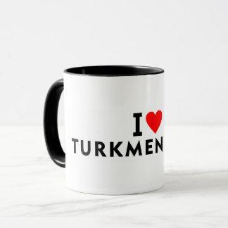 私はハート旅行旅行のようなタキマンニスタンの国を愛します マグカップ