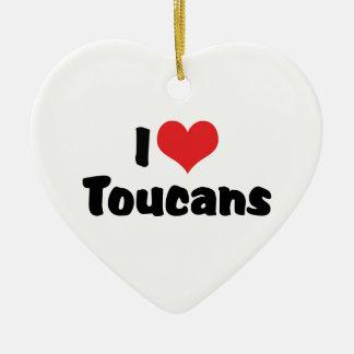 私はハートToucans -鳥の恋人--を愛します セラミックオーナメント