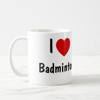 私はバドミントンを愛します コーヒーマグカップ