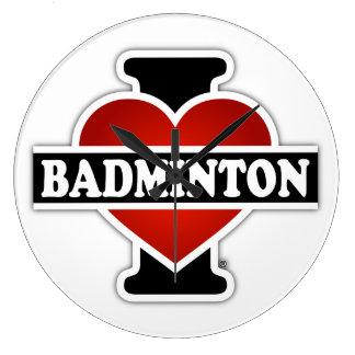 私はバドミントンを愛します ラージ壁時計
