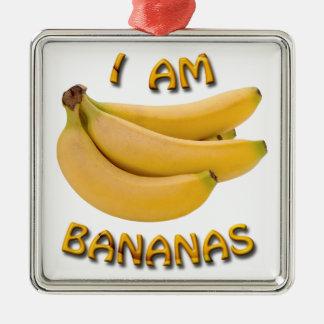私はバナナの正方形の金属のクリスマスのオーナメントです メタルオーナメント