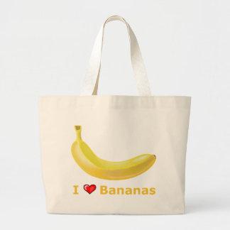 私はバナナを愛します ラージトートバッグ