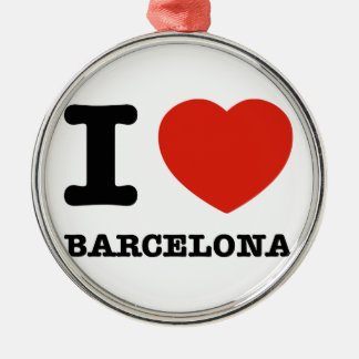 私はバルセロナを愛します メタルオーナメント