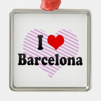 私はバルセロナ、スペインを愛します メタルオーナメント
