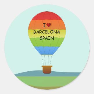 """""""私はバルセロナ、スペイン""""の熱気の気球愛します ラウンドシール"""
