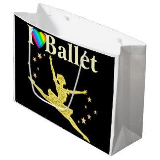私はバレエのデザインを愛します ラージペーパーバッグ