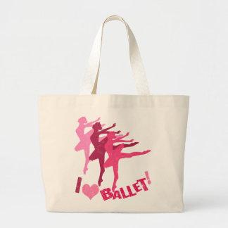 私はバレエを愛します ラージトートバッグ
