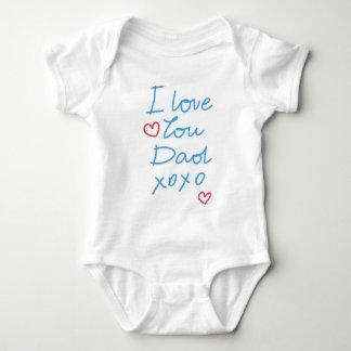 """""""私はパパのxoxo""""の手書きメッセージ愛します ベビーボディスーツ"""