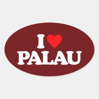 私はパラオ諸島を愛します 楕円形シール