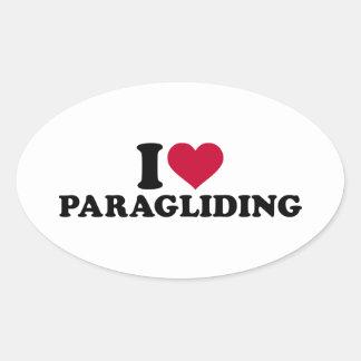 私はパラグライダーを愛します 楕円形シール