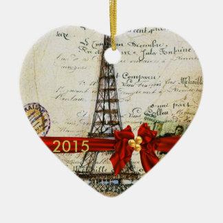 私はパリのクリスマスのオーナメントのカスタムな上品2015年を愛します セラミックオーナメント
