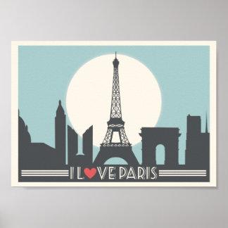 私はパリのヴィンテージポスターを愛します ポスター