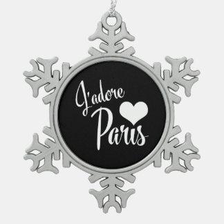 私はパリ- J'adoreパリのヴィンテージのスタイルを愛します スノーフレークピューターオーナメント