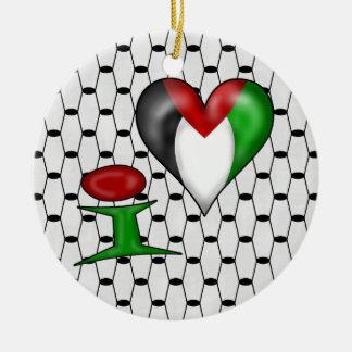 私はパレスチナIのハートパレスチナを愛します セラミックオーナメント