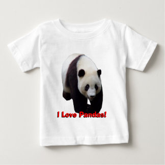 私はパンダを愛します! ジャイアントパンダの乳児のワイシャツ ベビーTシャツ