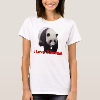 私はパンダを愛します! ジャイアントパンダの女性のベビードールのワイシャツ Tシャツ