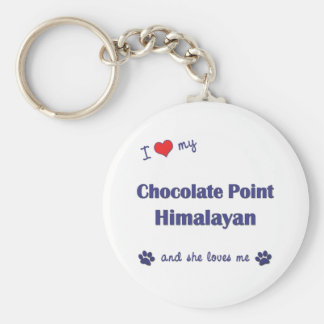 私はヒマラヤ私のチョコレートポイントを愛します(メス猫) キーホルダー