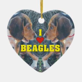 私はビーグル犬のバレンタインデーを愛します セラミックオーナメント