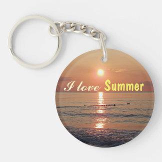 私はビーチのキーホルダーの夏日没を愛します キーホルダー