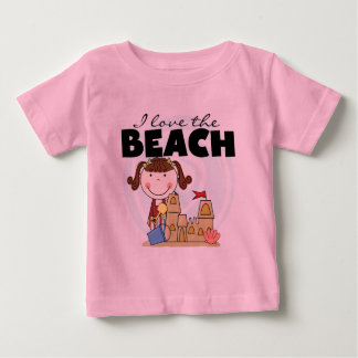 私はビーチのブルネットの女の子のTシャツおよびギフトを愛します ベビーTシャツ