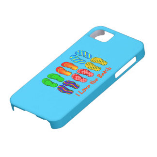 私はビーチ-カラフルなビーチサンダル--を愛します iPhone SE/5/5s ケース