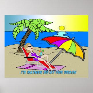 """私はビーチ-女性に24"""" x18""""ポスターむしろいます ポスター"""