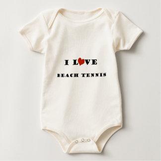 私はビーチTennis.pngを愛します ベビーボディスーツ