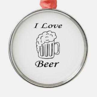 私はビールを愛します シルバーカラー丸型オーナメント