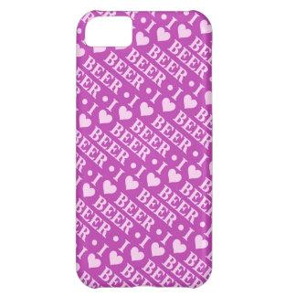 私はビールを愛します(ピンクおよび紫色) iPhone5Cケース