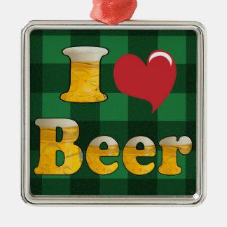 私はビールを愛します メタルオーナメント