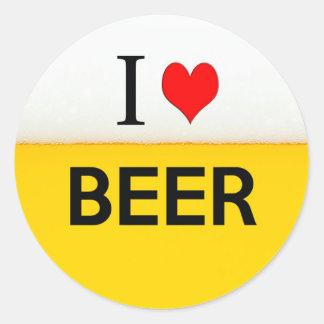 私はビール質の飲料アルコール飲み物のハートを愛します ラウンドシール