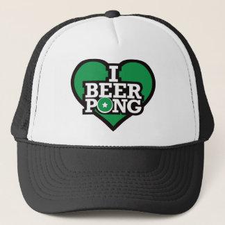 私はビールPong -緑--を愛します キャップ