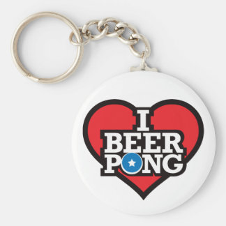 私はビールPong -赤--を愛します キーホルダー