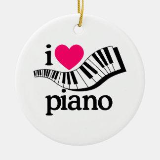 私はピアノかキーボードを愛します セラミックオーナメント
