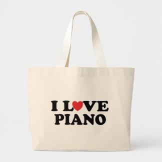 私はピアノトートバックを愛します ラージトートバッグ