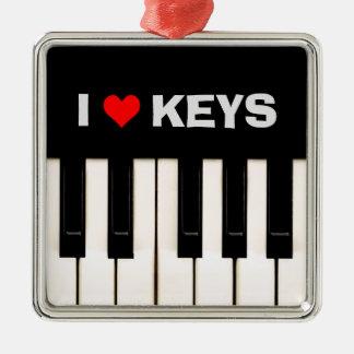 私はピアノ鍵を愛します メタルオーナメント