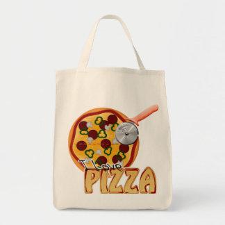 私はピザ-オーガニックな食料雑貨のトート--を愛します トートバッグ