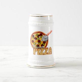 私はピザ-ステイン--を愛します ビールジョッキ