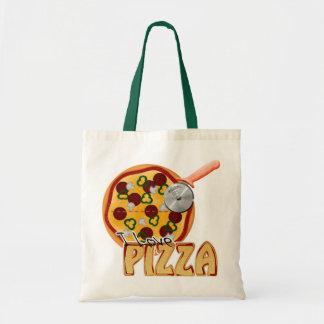 私はピザ-予算のトート--を愛します トートバッグ