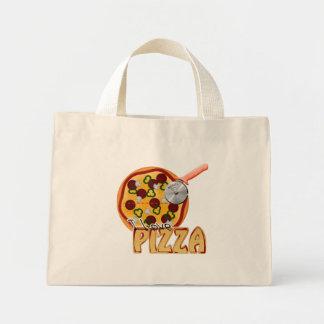 私はピザ-小さいトート--を愛します ミニトートバッグ