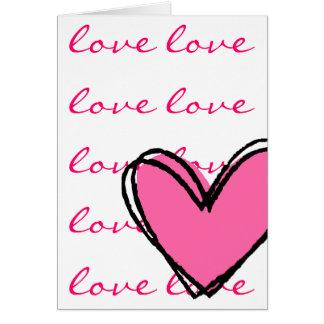 私はピンクのハート愛します カード