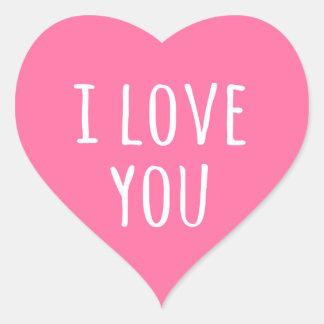 私はピンクのバレンタインデーのハート愛します ハート形シール・ステッカー