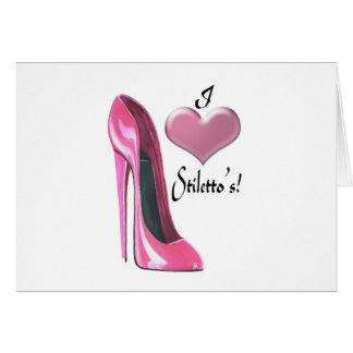 私はピンクの小剣の靴および3Dハートを愛します カード