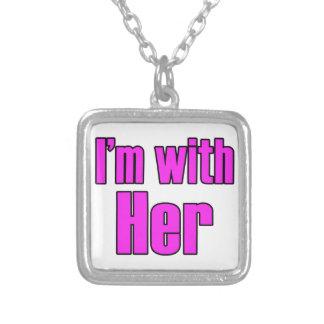 私はピンクの彼女とあります! シルバープレートネックレス