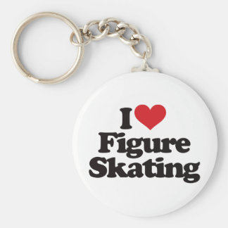 私はフィギュアスケートを愛します ベーシック丸型缶キーホルダー