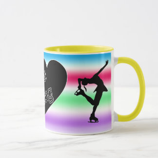 私はフィギュアスケート、ハート、多彩なマグを愛します マグカップ